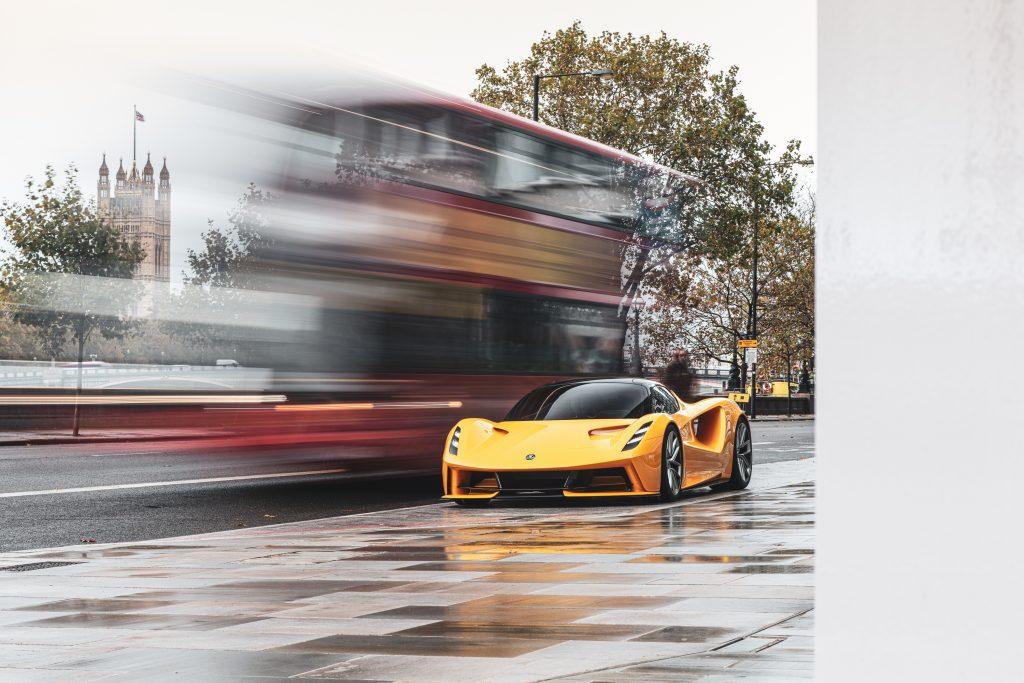 All-electric Lotus Evija hypercar at speed